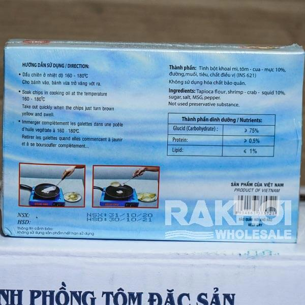 Ingredient of Bich Chi Banh Phong Tom Special Seafood Chips 200g